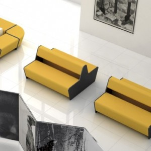 Banquette  modulable double face 2 x 2 places en SIMILI CUIR VALENCIA NON FEU pour compositions (très large gamme de modules)