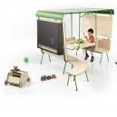 Cabane Enfant multi-activités avec tableau noir, modulable spéciale salle d'attente en bois naturel et métal