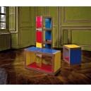 Cube assemblable multi-usages monocouleur dim. 45.2x45.2xp35cm en bois polymère