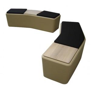 Banc design 2 places structure coque en polyéthylène rotomoulé coloris sable, avec tablette centrale
