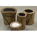"""Table basse/tabouret """"NATURE"""" en billot de chêne véritable et résine, grand modèle"""