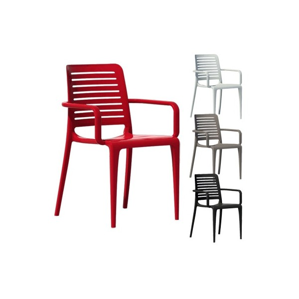 chaise dextrieur avec accoudoirs empilable 4 pieds en polypropylne renforc - Chaise Exterieur