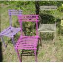 SOLDE Chaise d'EXTERIEUR intemporelle 4 pieds, en métal EXCELLENTE QUALITE  coloris FUCHSIA