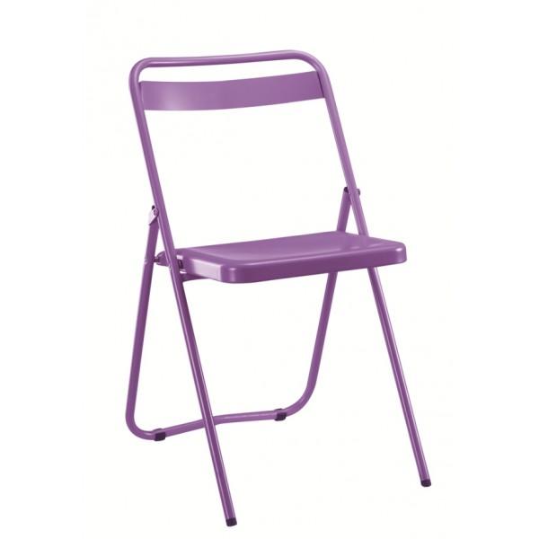 chaise pliante d 39 exterieur en acier rivet e. Black Bedroom Furniture Sets. Home Design Ideas