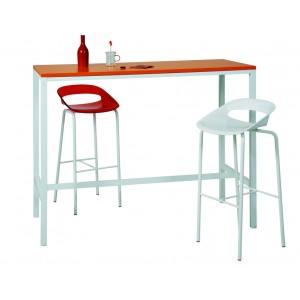 Table haute étroite 4 pieds 120/140/160xH110 plateau stratifié pieds métal