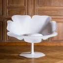 Fauteuil POPPY très DESIGN et ORIGINAL en forme coquelicot, dim. L108x9p75xh87cm, version MONO BLANC