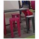 SOLDE Tabouret haut DESIGN tout métal concept MECCANO 35x35XH75cm INDOOR/OUTDOOR coloris GRIS FONCE