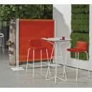 Mange-debout EFFILE carré p/2 personnes H110cm plateau stratifié 60x60 pied acier DESIGN en fil métal blanc