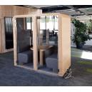 Cabine acoustique DUO position assise, double spéciale openspace, pour travailler, FERMEE avec portes vitrées