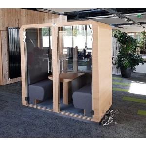 SUR DEVIS: Cabine acoustique DUO pour travailler FERMEE avec portes vitrée