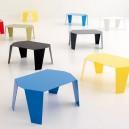 Petite table basse DESIGN tout métal monobloc blanche ou noire dim. 58x28xH43cm 6 coloris