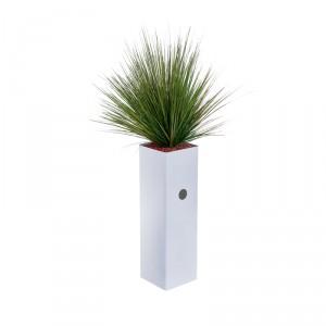 jardinire haute et troite garnie de gramines artificielles 22x22xh120cm