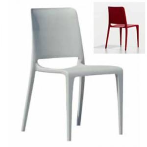SOLDEE Chaise d'intérieur/d'extérieur économique SANS accoudoirs, empilable 4 pieds en polypropylène renforcé