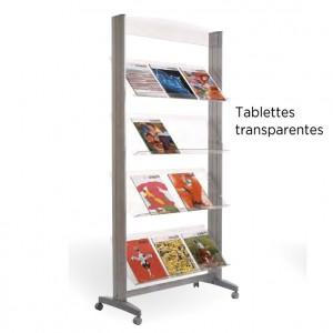 Présentoir mobile 4 niveaux avec tablettes inclinées en polystyrène cristal, montants aluminium