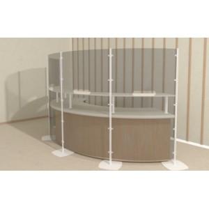 Cloison de protection haute avec ou sans fenêtre FLEXIBLE et transparente sur socle ou fixation murale L100xH169.5cm