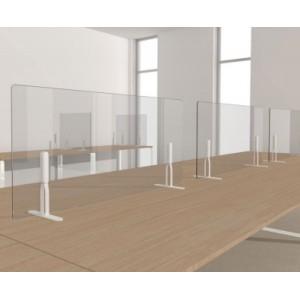 Ecran-cloison de protection long pour table ou bureau en méthacrylate transparent'