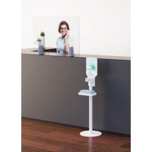 Présentoir distributeur de gel hydro-alcoolique avec affichage