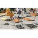 Repose-pieds design OUTDOOR métal filaire et lattes en teck assorti au fauteuil 22237