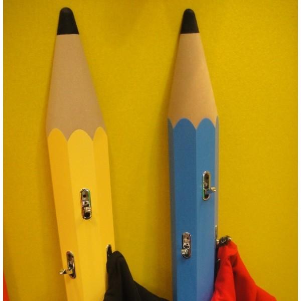 Portemanteau Enfant Mural Forme Crayon En Bois - Porte manteau enfants